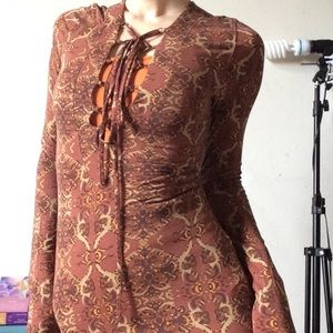 Free People Tops - Free People Deep V Lace Zip Bohemian Blouse